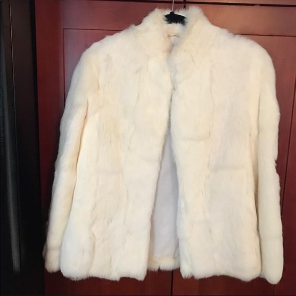 Elegant vintage cream color Genuine Fur Coat